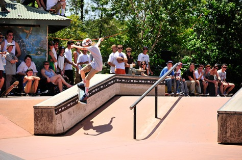 Kobe throws down a solid smith grind earning him 3rd in the juniors - Photo: Matt Hooker
