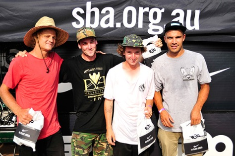 The Podium! Ryan came in 2nd, Bay homie Patty G coming in 3rd and Nick Raw skated so good they gave him a wildcard in to GF too!! - Photo: Matt Hooker