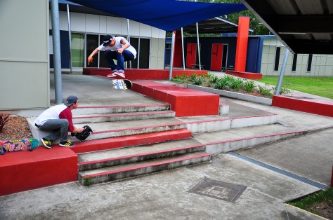 Pedro stomped this heelflip just before the rain sets in