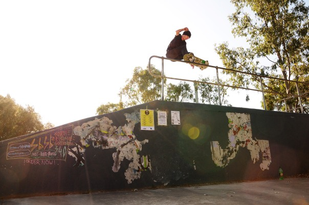 Jack Fardell 5050's the rail at the top of the hip.....So gnarly!