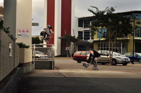 Cam ollies a over a wheelchair ramp rail with ease. Check the back foot!