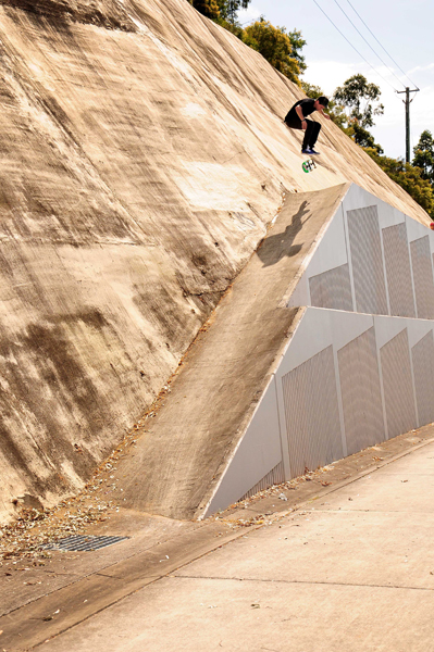 Jarrod heelflips into a gnarly bank