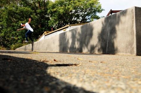 Pedro Bs Tailslides a downhill ledge