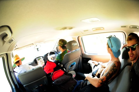 The view from inside the Van! Beacho and the Boss riding Shot gun, Jaoord and me in the middle and Jaydos holds down the back!