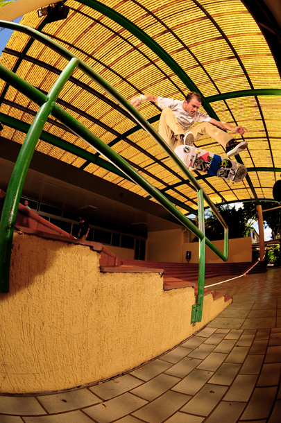 Beacho getting over this rail with a steezy heelflip