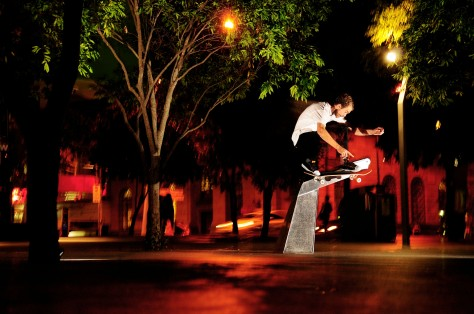 Beacho with a night time Wallie of a water fountin
