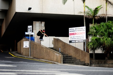 Jarrod with a Ollie over a gritty hubba