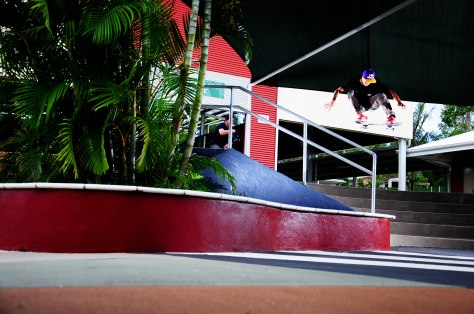 Pedro uses his pop this time to clear a gap then a rail.
